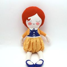 Alice 18 cloth doll rag doll customizable blue by piggyhatespanda, $54.00
