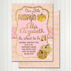 Pink Pumpkin Invitation Pumpkin Invitation by CherryBonBonDesigns