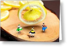 Tiny People Big World Greeting Cards - Rotating dancers and lemon gyroscope food physics Greeting Card by Paul Ge