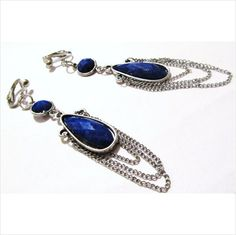 Handcrafted - Clip On Earrings - Double Blue Stone - Chained Dangles on eBid United States