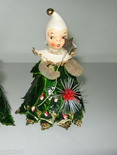 Howard Holt Angel Ornament Tree Topper Vintage RARE Paper Bisque Poinsettia | eBay