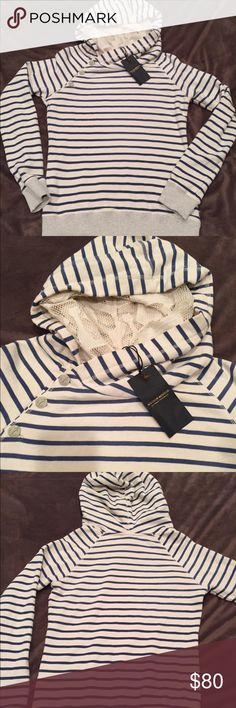 """Madison Scotch striped Hoodie aka Scotch & Soda Maison Scotch sweatshirt hoodie, off white with blue stripes, grey heather bands. Double hoodie with lace inset- anchor buttons. Measures 19"""" across chest  24"""" from shoulder to hem. Loose comfortable fit. NWT.      MAISON SCOTCH From the house of Amsterdam-based label Scotch & Soda, Maison Scotch channel a rock chic aesthetic and Parisian je ne sais quoi, bringing forth beautifully wearable collections. Maison Scotch Tops Sweatshirts & Hoodies"""