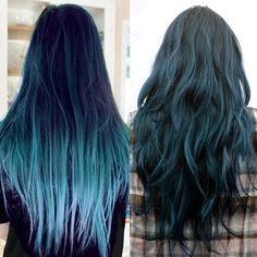 blue dip dye hair color for black hair