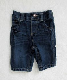 Boys GENUINE BABY Oshkosh B'gosh Distressed Denim Pull On Blue Jeans SZ Newborn #GenuineBabybyOshKoshBgosh #Jeans #DressyEveryday