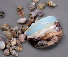 Custom Order Cynthia Murphy-Handmade Polymer Clay 32 x 40 mm Bracelet Focal -Seascape Panorama-Beach Beads-Aqua Turquoise PA 9999Cindy by StudioStJames on Etsy