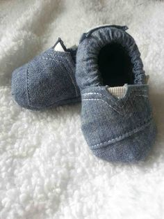 """Upcycled Chambray Baby """"Toms"""""""