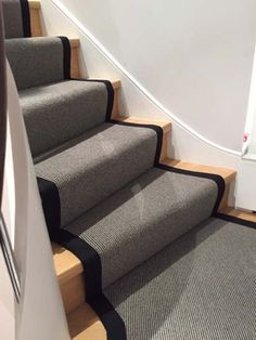 Client: Private Residence In North London Brief: To supply & install grey stair carpet with black border to stairs Grey Stair Carpet, Hall Carpet, Diy Carpet, Carpet Stairs, Wooden Ladder Shelf, Wooden Stairs, Painted Staircases, Painted Stairs, Metal Stair Railing