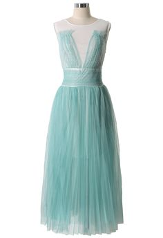 Mint Green Tulle Maxi Dress - New Arrivals - Retro, Indie and Unique Fashion