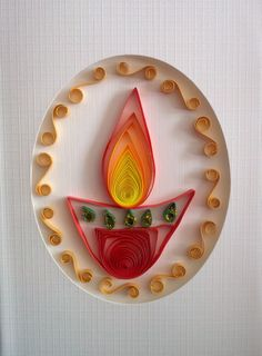Quilling - Diwali Greeting Card Diy Diwali Cards, Diy Diwali Gifts, Corporate Diwali Gifts, Diwali Greeting Cards, Diwali Greetings, Diwali Craft, Diwali Wishes, Creative Gifts, Creative Ideas