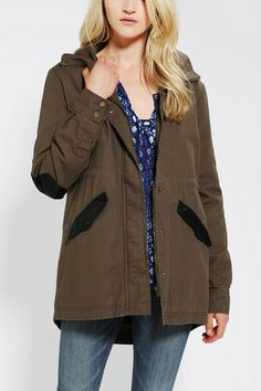Staring At Stars Vegan Leather-Trim Parka - Urban Outfitters
