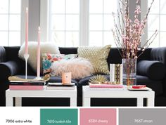 paint for a girly living room-colors would be great for a home office.