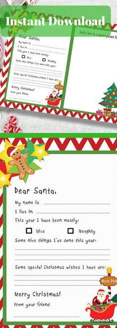 Dear Santa Fill In Letter Template  Santa Letter Printable Dear
