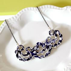 Recycled China Lace Collar - Blue Transferware by TheBrokenPlate via etsy