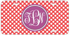 Personalized Monogrammed Polka Dots Purple Red License Plate Custom Car L071