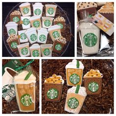 Starbucks Coffee Decorated Sugar Cookies by I Am the Cookie Lady