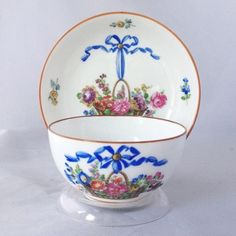 Ambrosius Lamm Dresden Hand Painted Breakfast Cup Saucer Floral