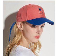 Hip hop color block baseball cap for women UV protection sun hat with fringe
