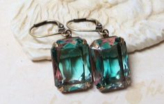 Tourmaline Green Rose Glass Earrings Dangles by dfoxjewelrydesigns