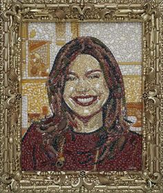 A portrait of Rachael Ray made out of pasta, by American mosaic artist Jason Mecier.