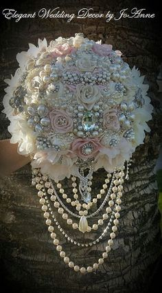 CASCADING BROOCH BOUQUET Deposit for a by Elegantweddingdecor
