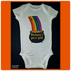 """This gender neutral St. Patrick's Day baby girl or boy one piece bodysuit and toddler, children, kids t shirt is a must have for your little guy or gal's St. Patty's Day wardrobe attire.  Select from your choice of baby snapsuit or children's t shirt featuring a rainbow (hand drawn in crayon option by me!) with 2 green shamrocks imbedded atop a pot of gold where you will find the gold is glittered!  The black pot reads, """"Mommy's pot o' gold"""".  There isn't a better baby shower gift than this…"""