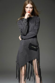 Cool girl. Long Sleeve Round Neck Cotton Asymmetric Tassels Dress