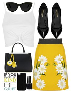 """spring time"" by j-n-a ❤ liked on Polyvore featuring Yves Saint Laurent, Dolce&Gabbana, Topshop, Fendi, Quay, Maison Takuya and OPI"