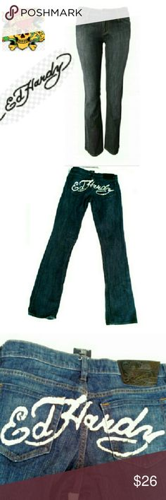 """ED HARDY BOOT CUT LOW RISE JEANS EUC *NEW* NWOT ED HARDY BOOT CUT SUPER LOW RISE JEANS *NEVER WORN* *   End Hardy Signature Across Back Pockets *   Super Low Rise  *   End Hardy Signature on Pocket *   Signature Leather Patch on Back  *   Size 28  *   99% Cotton 1% Elastane *   Approx Meas; W 28""""  L 34"""" Rise 7 1./2"""" Ed Hardy Pants Boot Cut & Flare"""