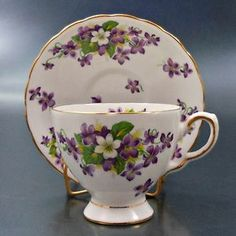 Tuscan English Bone China Tea Cup Saucer Purple White Woodland Violet