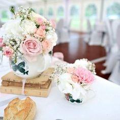 Centre De Table Rétro Rose Et Blanc Mariage Rétro Mélanie Miguel  Décoratrice Florale Www.ateliermiguel