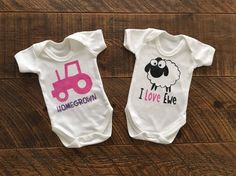 Farm Baby Girl Gift Set - Organic Bodysuit Gift Set - Tractor Vest - Sheep Vest - Farmer Baby Girl- Young Farmer - Pink Tractor - I Love You by CraftsbyKatieL on Etsy Baby Girl Gift Sets, Baby Gifts, Baby Boy, Farmer Baby, Pink Tractor, Young Farmers, Baby Vest, Baby Skin, Pink Love