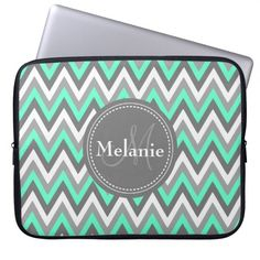 Monogrammed Blue & Grey Chevron Pattern Laptop Computer Sleeve. get it on : http://www.zazzle.com/monogrammed_blue_grey_chevron_pattern_laptop_sleeve-124991147534984739?rf=238054403704815742
