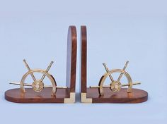 Brass Ship Wheel Book Ends