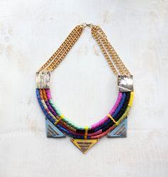 Tzunuum: Multi color rope and leather necklace - Neon Rainbow. $250.00, via Etsy.