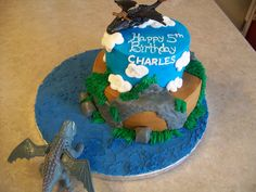 How To Train Your Dragon Birthday Cake and Cupcakes
