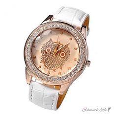 Damen Armbanduhr Strass Eule Rosegold weiß
