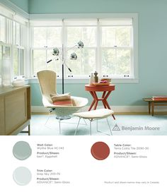 Gorgeous pops of color. #BenjaminMoore Wythe Blue HC-143 with ben, eggshell finish (walls); Gray Sky 2131-70 with ADVANCE, semi-gloss finish (trim); and, Terra Cotta Tile 2090-30 with ADVANCE, semi-gloss finish (table).