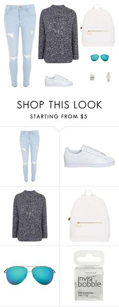 """Untitled #3792"" by antonellac15 ❤ liked on Polyvore featuring River Island, adidas, Topshop, Deux Lux, Victoria Beckham, Invisibobble, Emporio Armani, women's clothing, women and female"