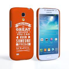 Caseflex Fatherhood Funny Quote Samsung Galaxy S4 Mini Case – Orange | Mobile Madhouse