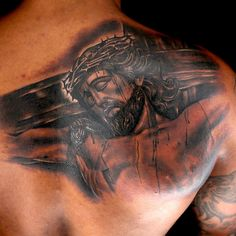 Jesus on the cross tattoo done by Tony Montoya