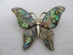 RARE Vintage Signed Monet Mother of Pearl Butterfly Pin Brooch Gold Tone | eBay
