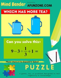 More #Tea and #Math #Fun. #Play #Free Here with many more #Mindbender #Puzzles.