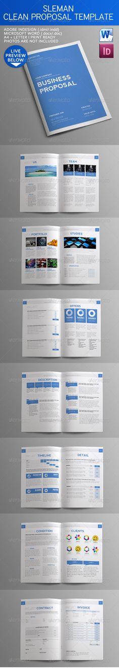 Sleman Clean Proposal Template Proposal templates, Proposals and - microsoft proposal templates