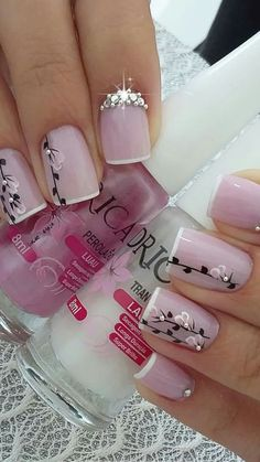 41 latest nail trends and designs 2019 014 Acrylic Nail Designs, Nail Art Designs, Acrylic Nails, Fingernail Designs, Fancy Nails, Pretty Nails, Valentine Nail Art, Stylish Nails, Flower Nails