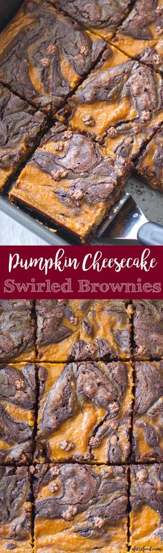 Pumpkin Cheesecake Swirled Brownies are the perfect holiday dessert for someone with a sweet tooth!