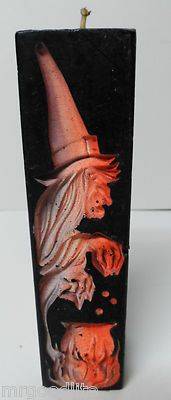 Vintage Halloween Gurley Candle ~ Two-Sided Black Candle w/ Owl in Tree on One Side and Witch w/ Cauldron on the other. * Circa, 1960's