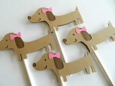 Girl Dachshund Cupcake Toppers Puppy Cupcake Toppers by 2muchpape for LOLA's 1st birthday haha