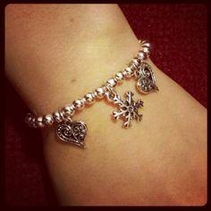 Bracciale perline argentate personalizzabile ♡