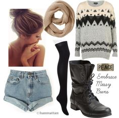 I love combat boots and tights !!!