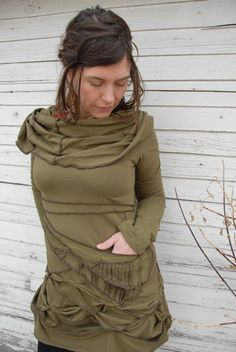 Organic Cowl Cinch Dress in Moss Green by velvetplume on Etsy, $360.00